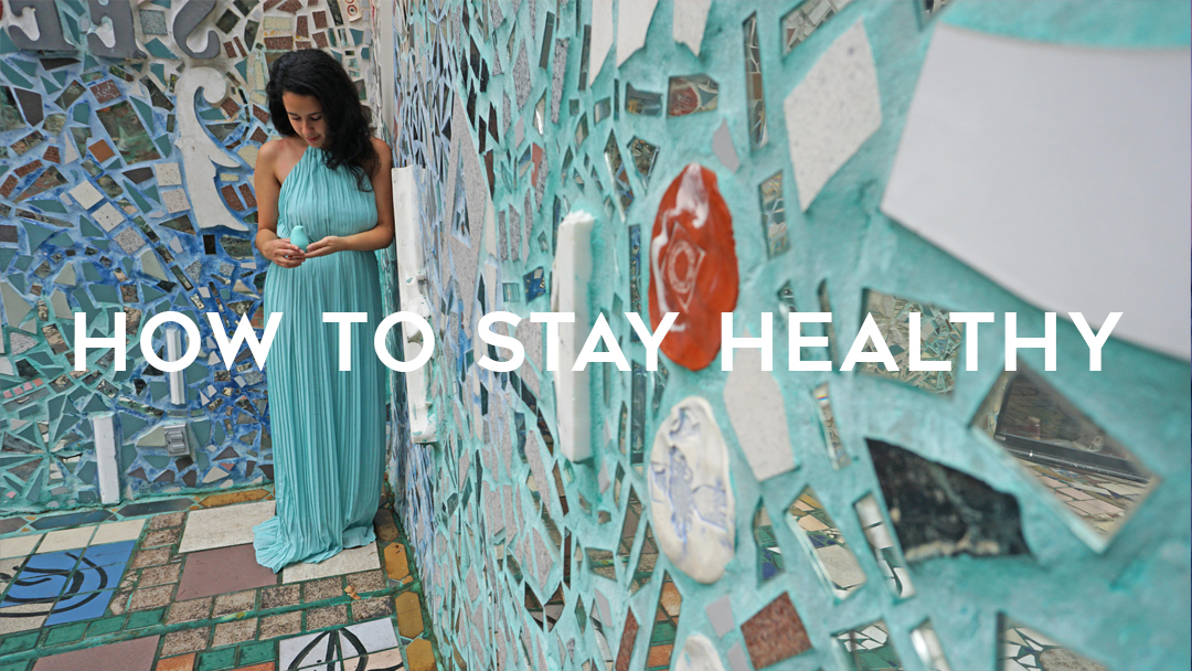 "Girl holding blue birdie with title ""How to stay healthy"" in mosaic corner"