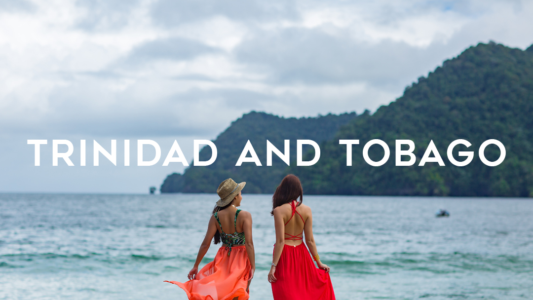 Tinidad and Tobago words over two girls on dock photo