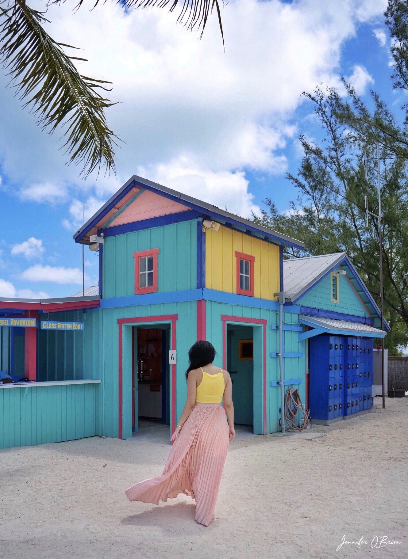Colorful house Chill island Instagram Guide to CoCo Cay Royal Caribbean Cruise Island