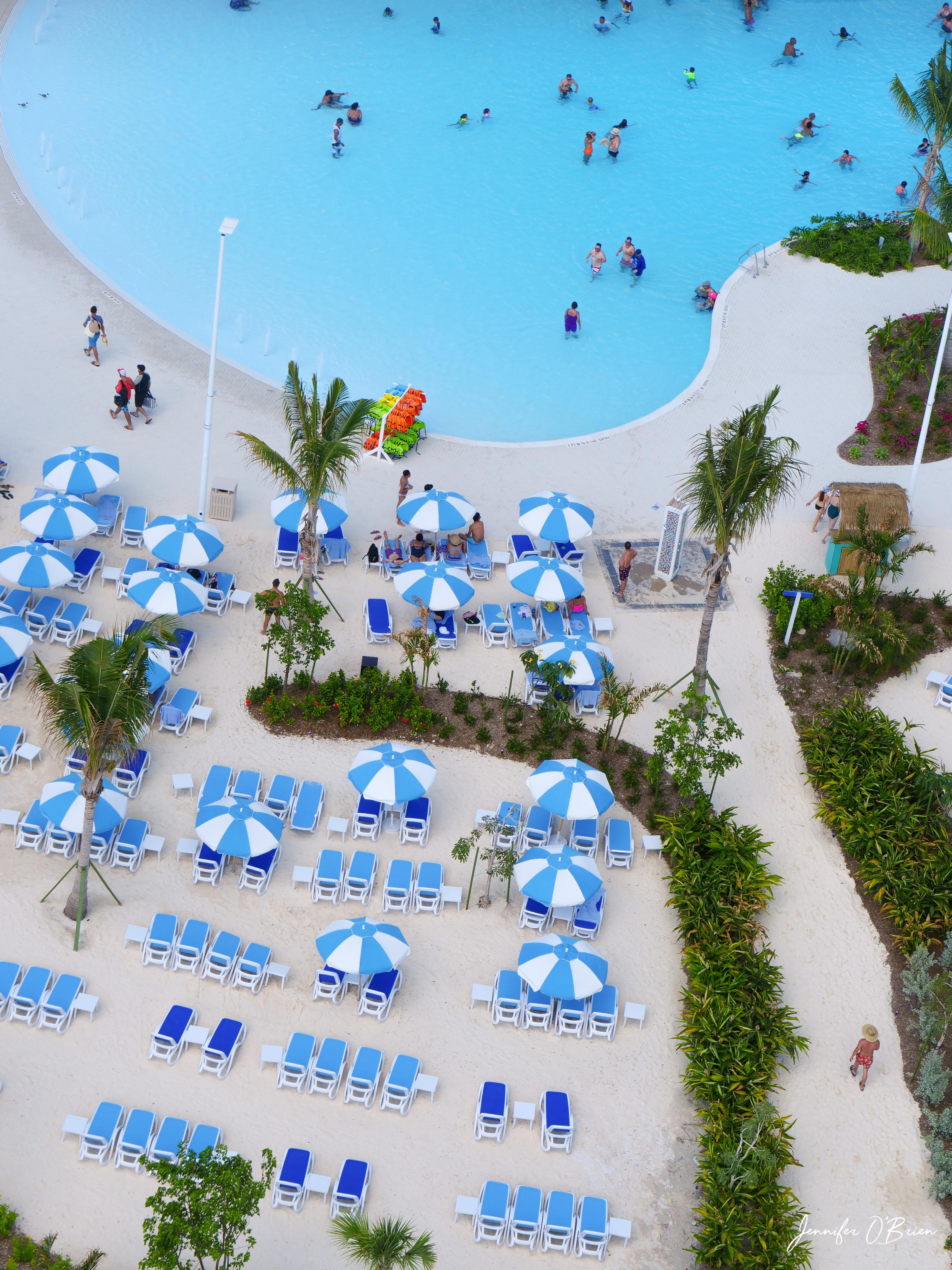 Oasis lagoon drone Cococay Royal Caribbean Island Bahamas