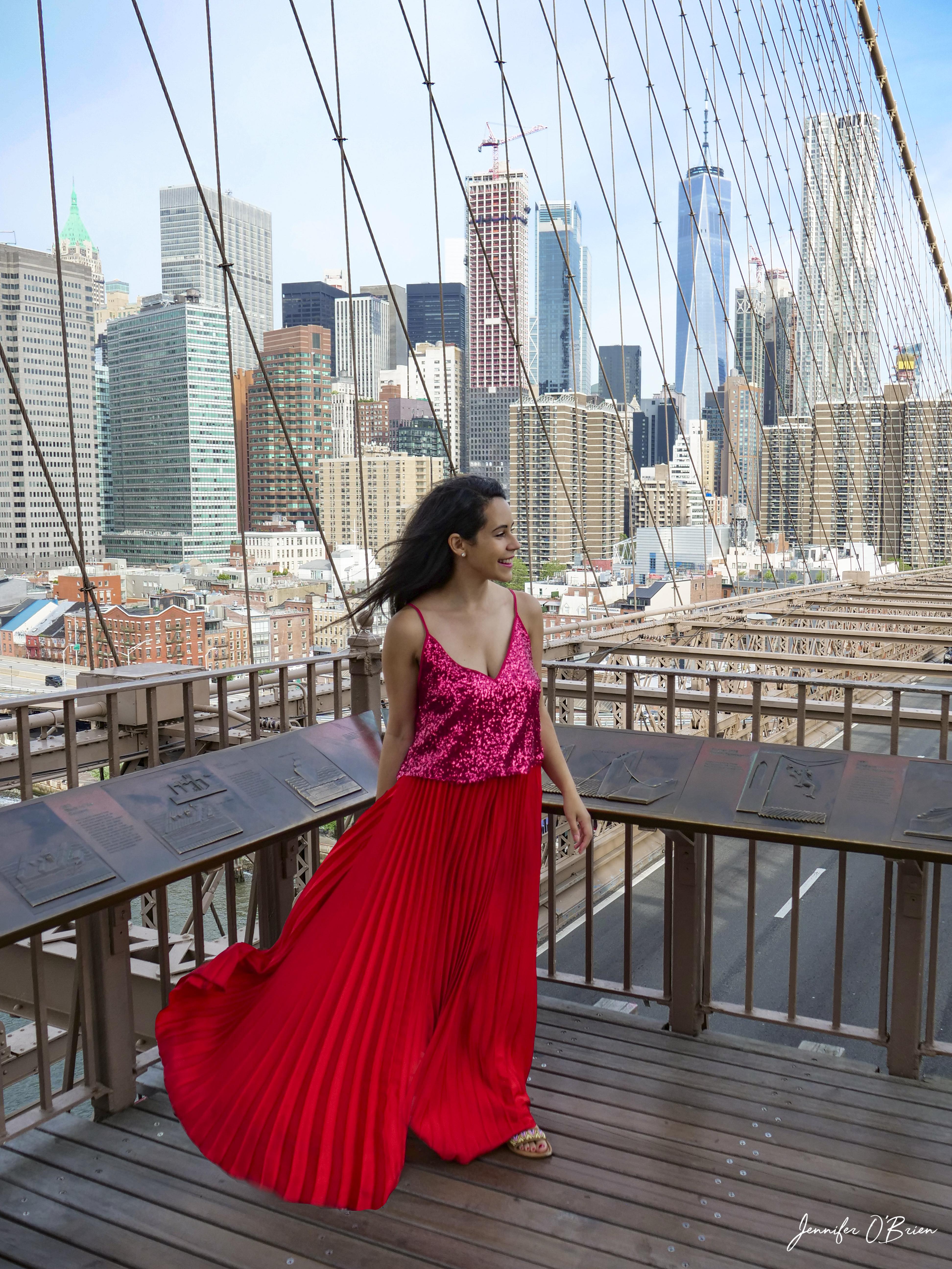 Top Instagram Photos of the Brooklyn Bridge The Travel Women girl in red dress