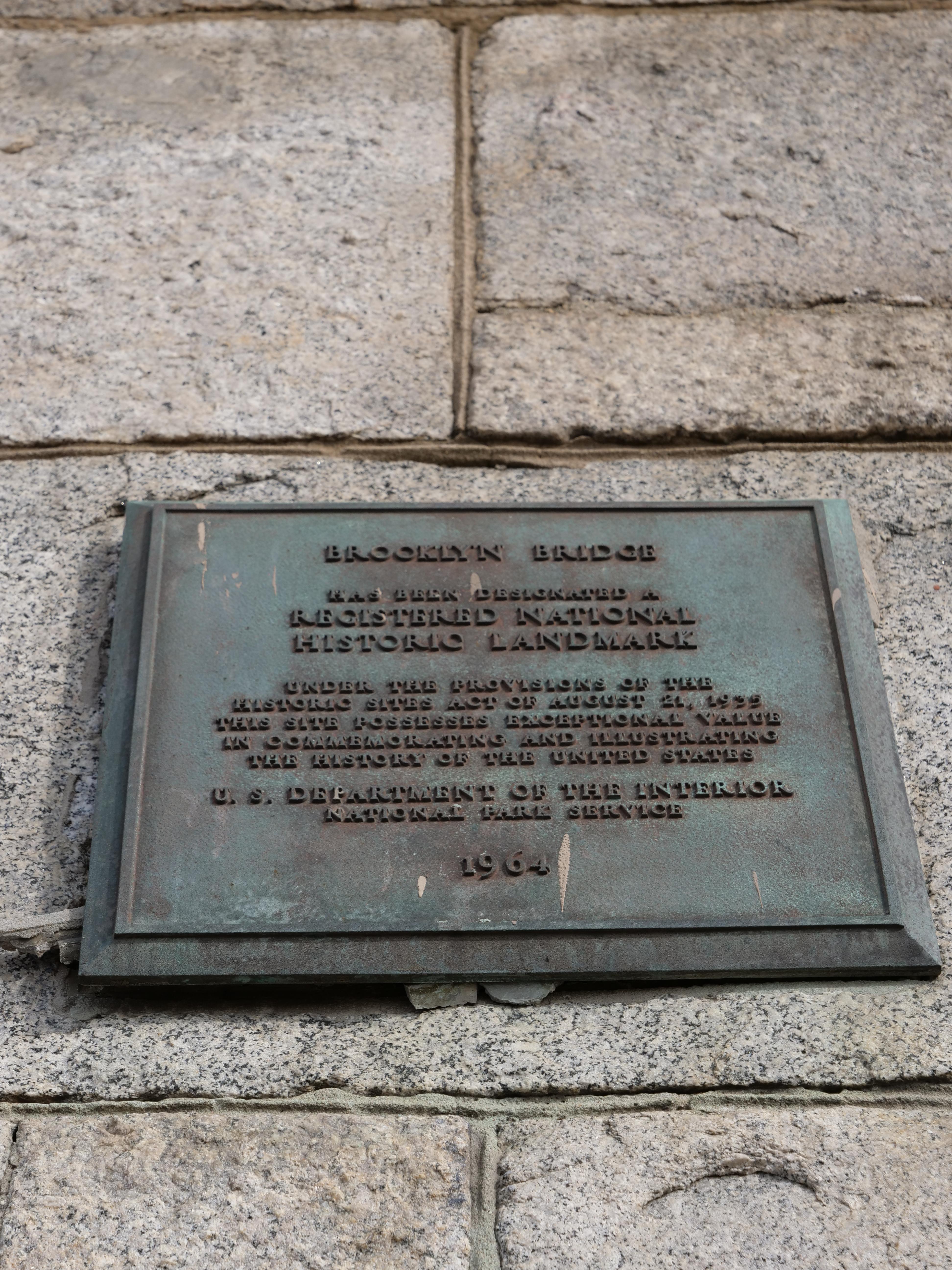 History of the Brooklyn Bridge 1869 plaque