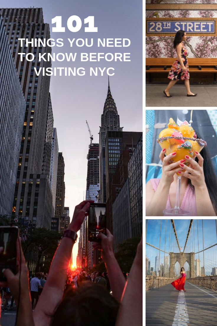 101 things to know before visiting NYC Manhattanhenge Brooklyn Bridge taxi Tipsy Scoop ice cream 28th street subway art