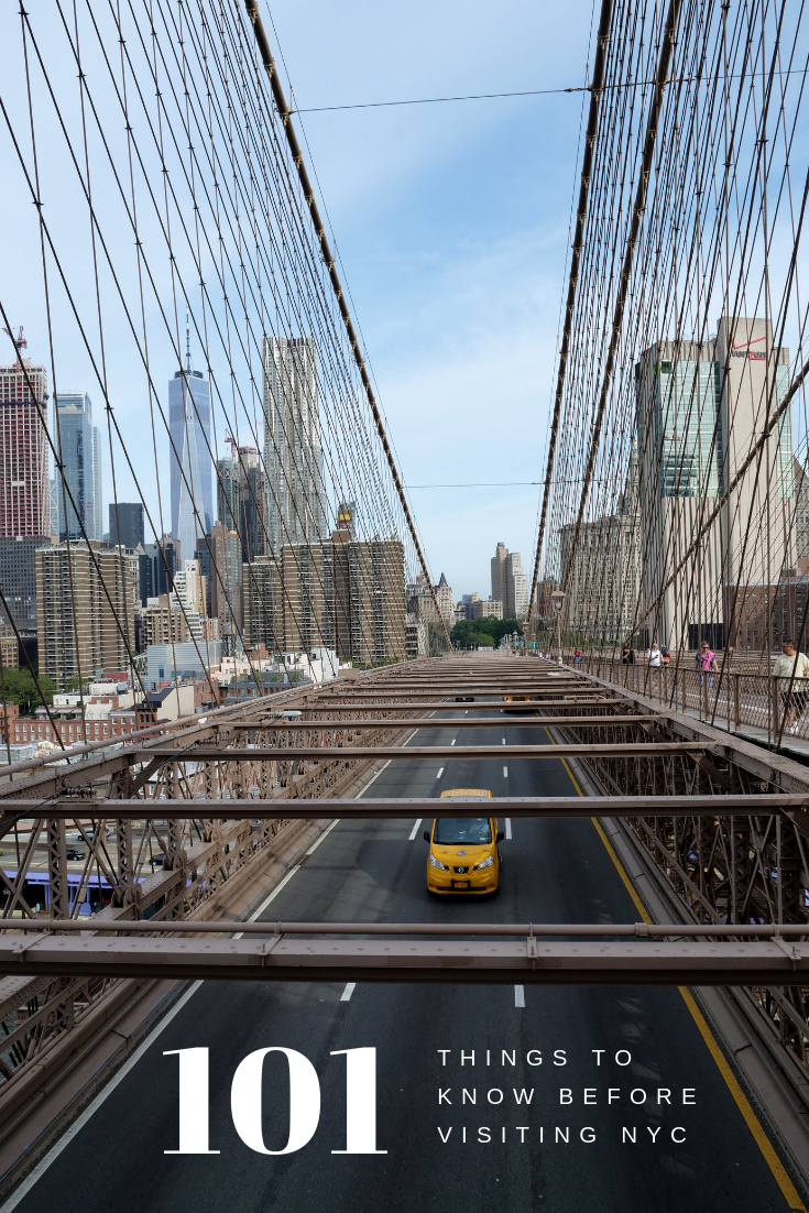 101 things to know before visiting NYC yellow taxi on the Brooklyn Bridge