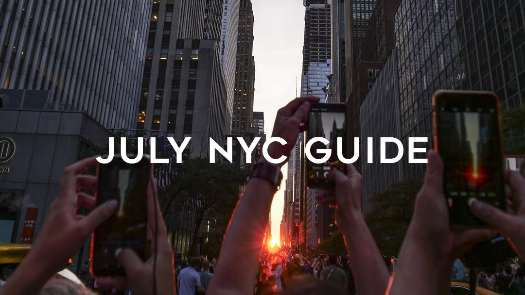 July NYC Guide in front of Manhattanhenge 42nd street sunset