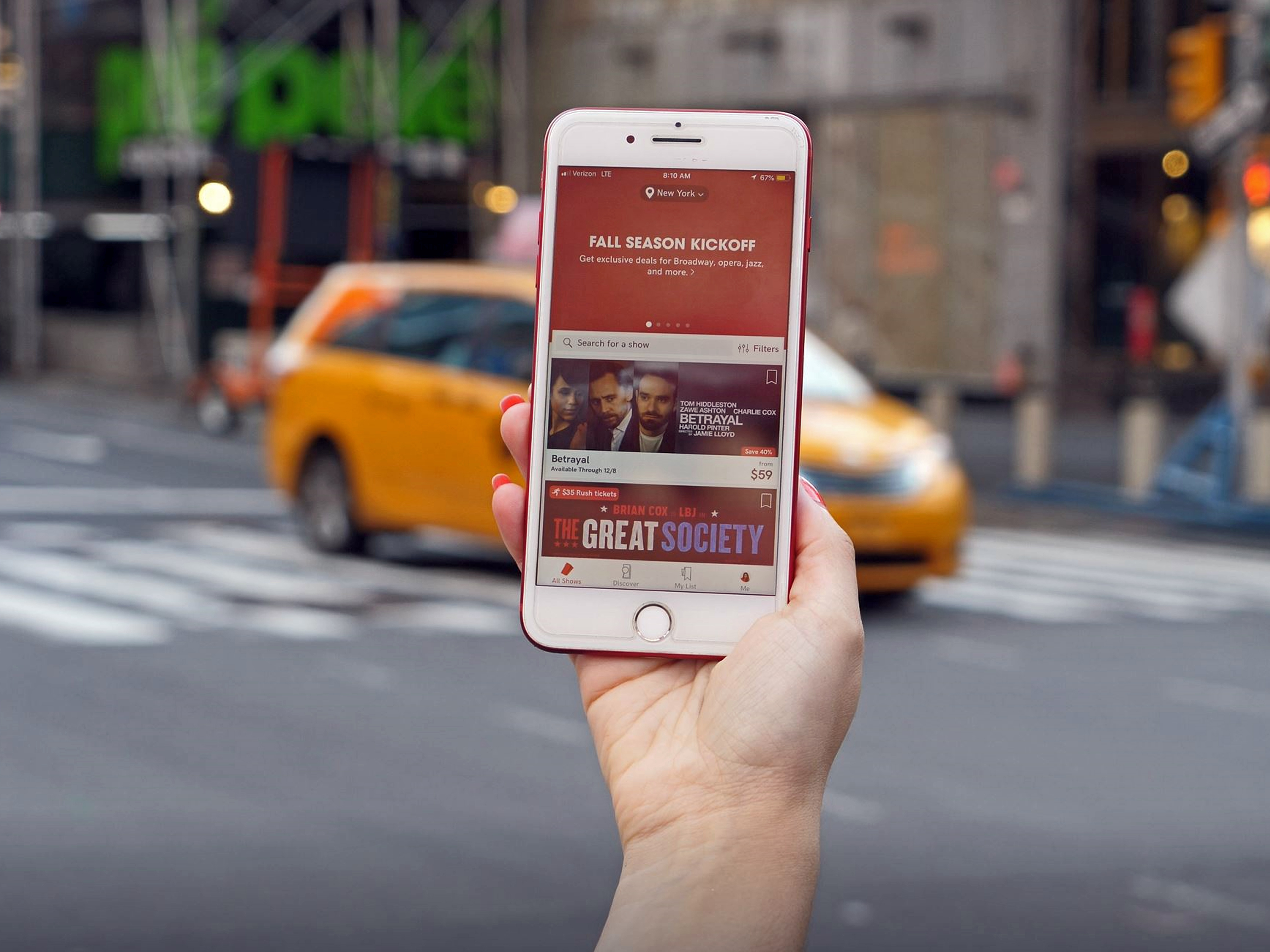 NYC Travel Guide: Budget Broadway Tickets TodayTix app iphone yellow cab taxi
