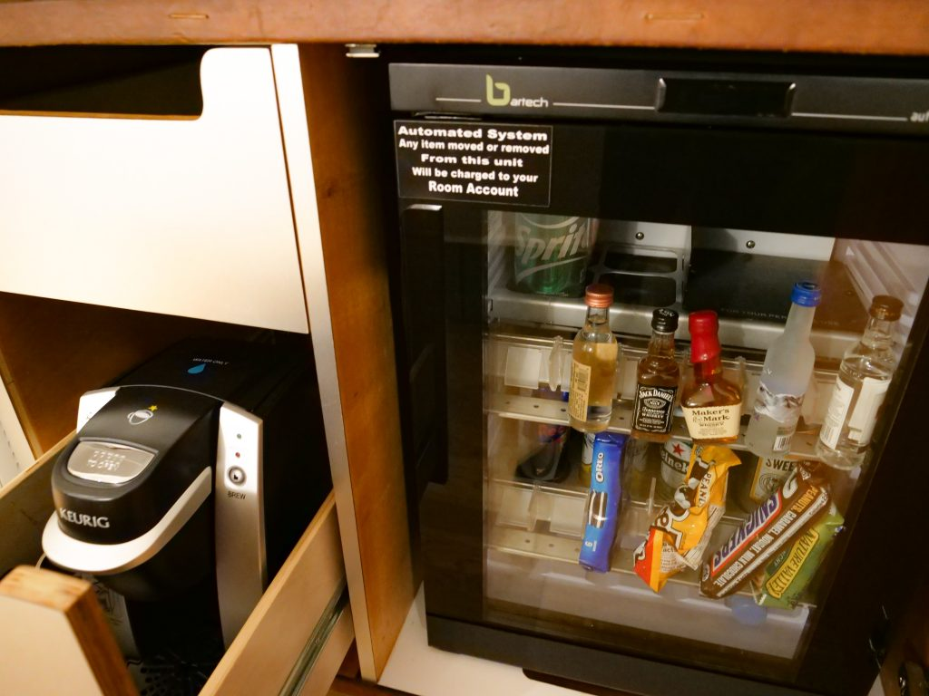 Hotel Indigo Lower East Side NYC Stay Review mini fridge Keurig coffee machine