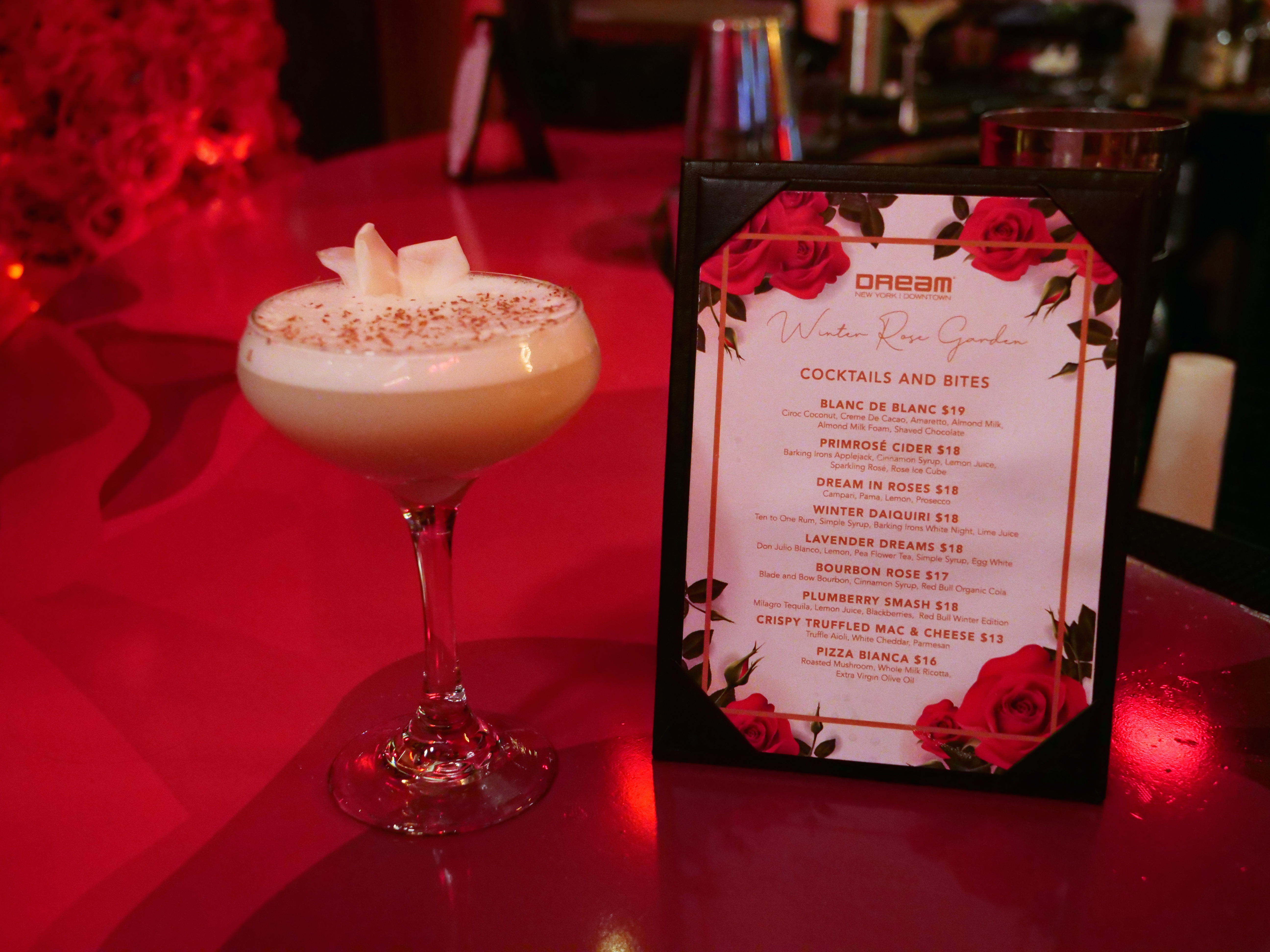 The Winter Rose Garden at the Dream Downtown Holiday bar cocktail