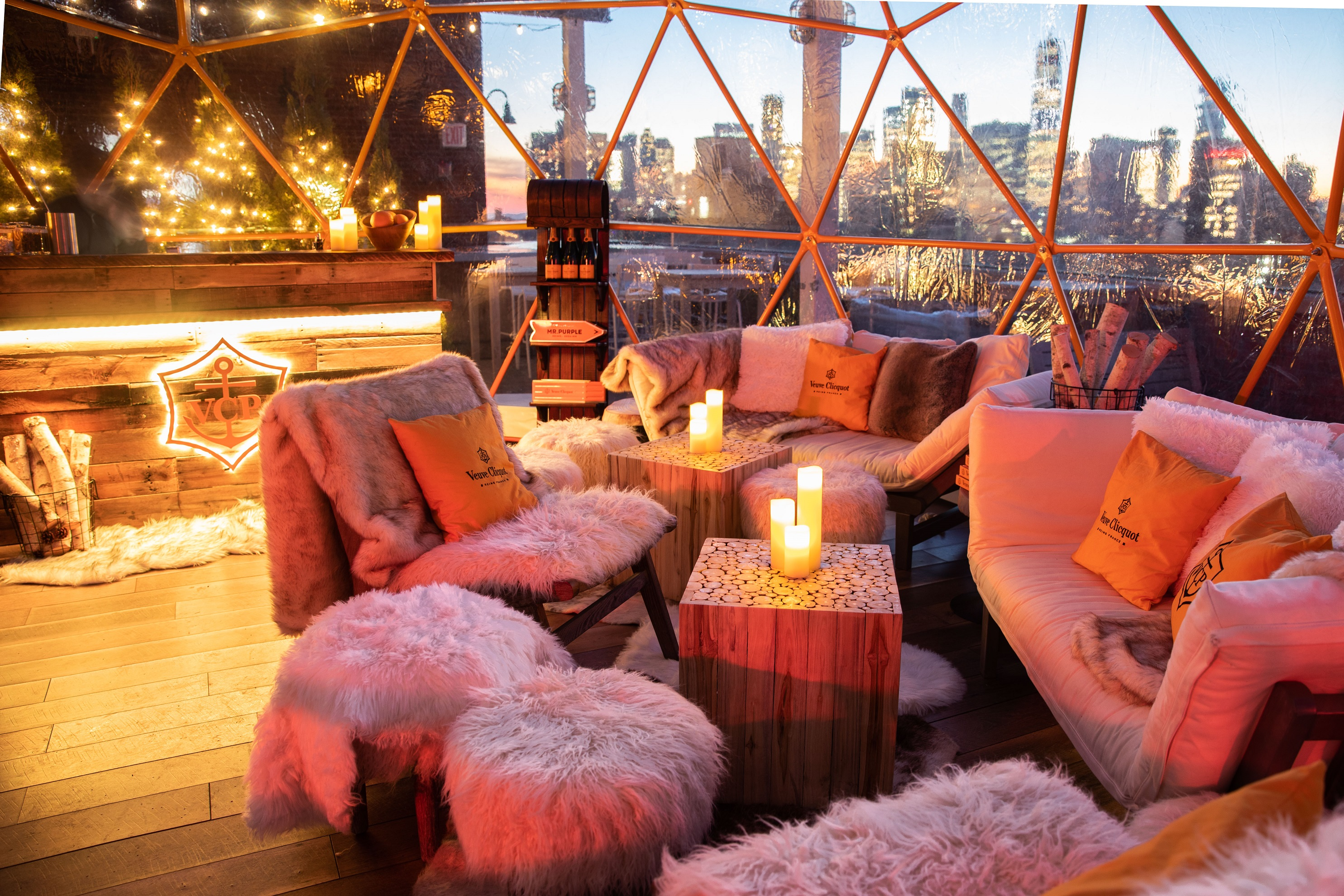 Clicquot Chalet at Mr. Purple Rooftop Holiday bar