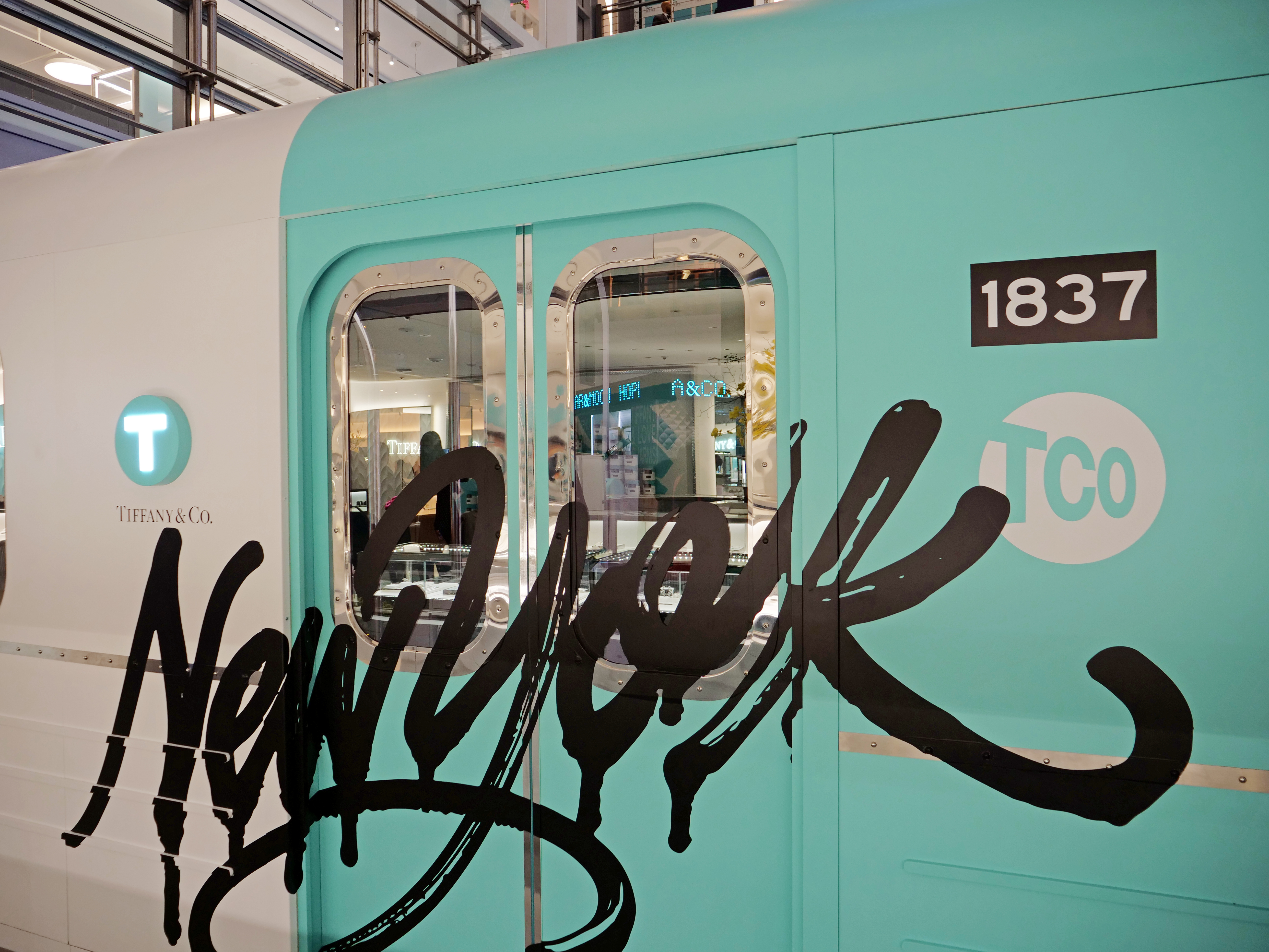 NYC Tiffany and Co Valentine's Day Subway train graffiti blue Flower Installation