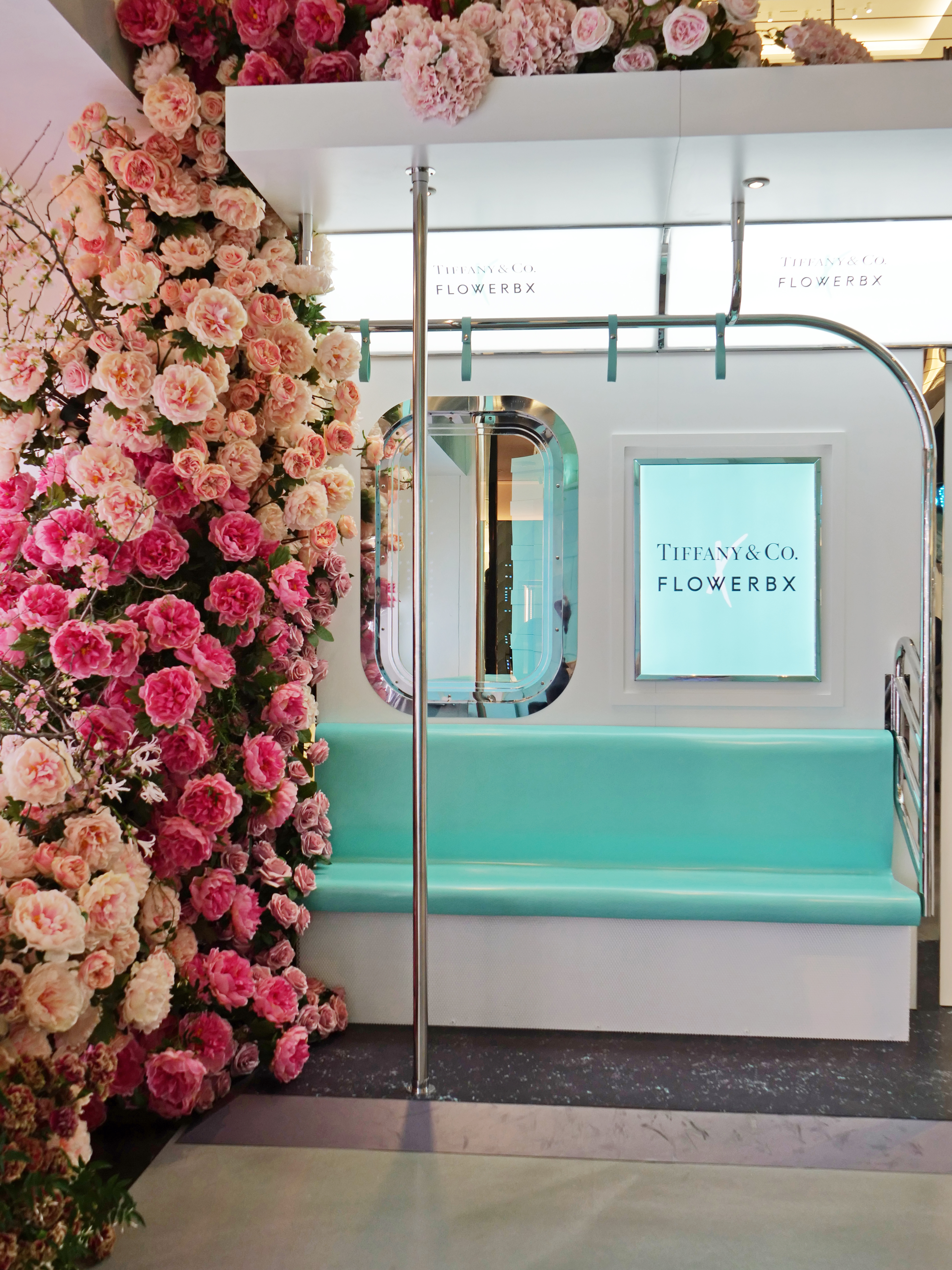 NYC Tiffany and Co Valentine's Day Subway Flower Installation