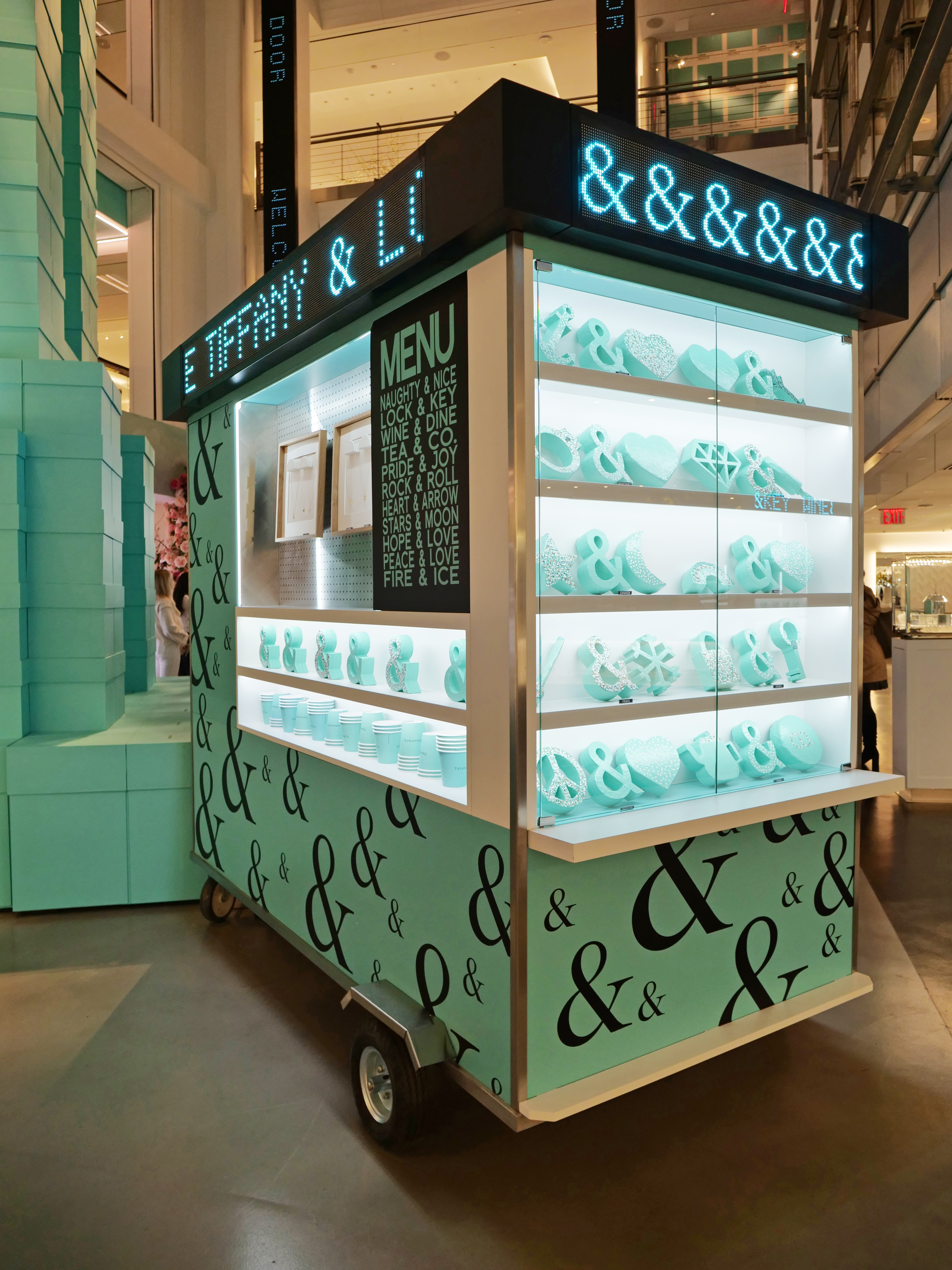 NYC Tiffany and Co Valentine's Day Subway Flower Installation pretzel cart