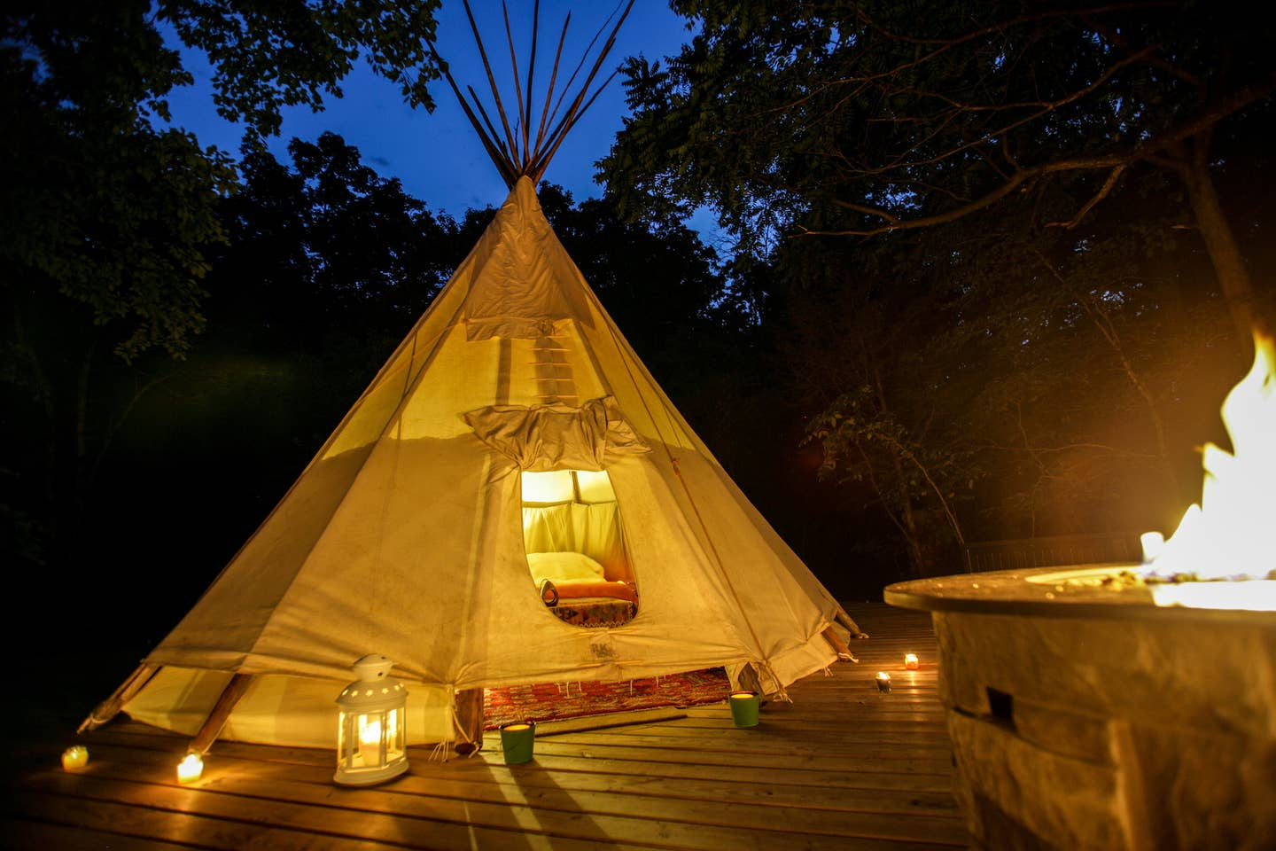 Most Unique USA Airbnbs tipi clamping tent Ozarks Missouri