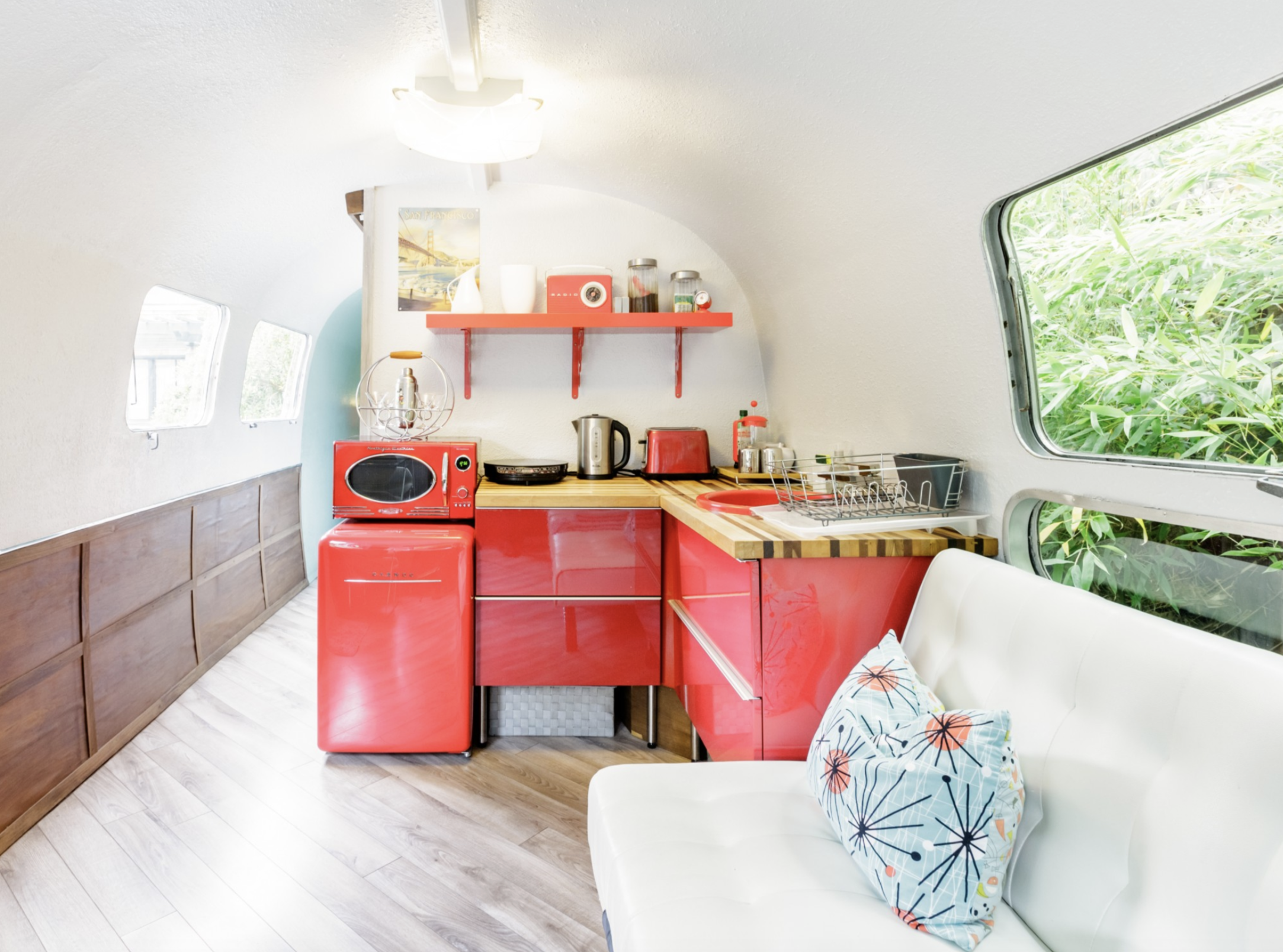 Most Unique USA Airbnbs vintage airstream San Francisco California retro red kitchen appliances microwave fridge stove