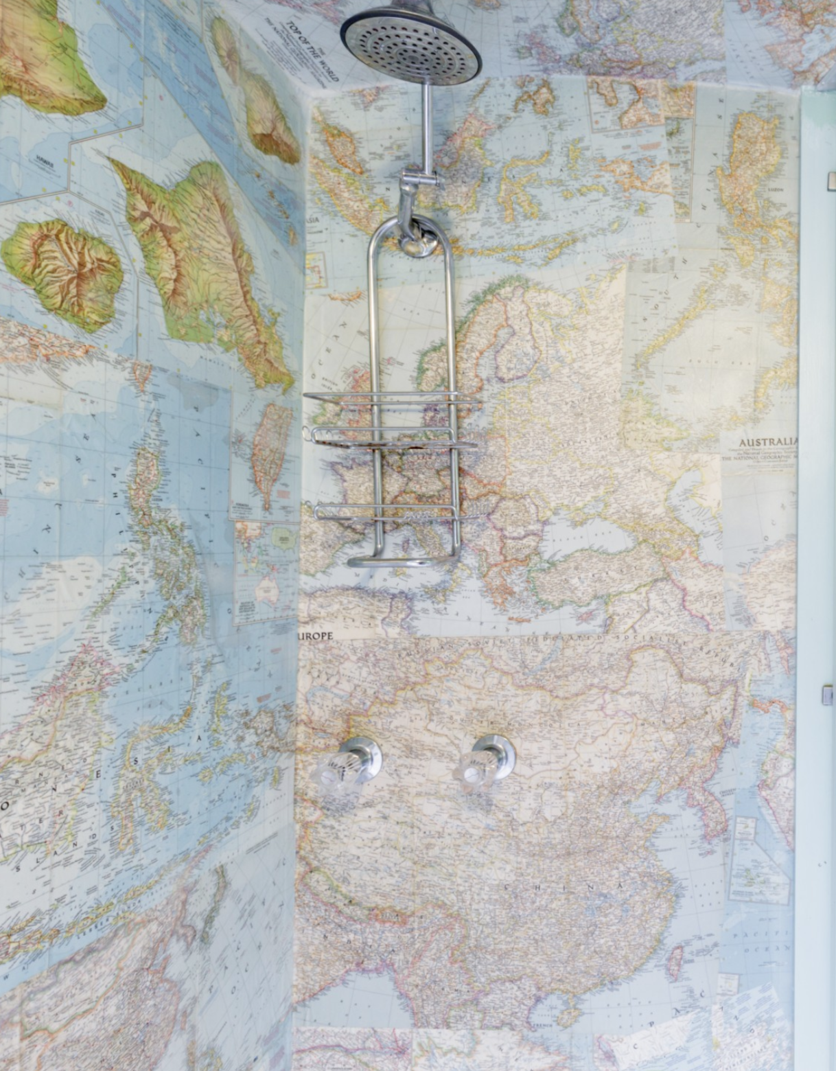 Most Unique USA Airbnbs vintage airstream San Francisco California map shower bathroom wallpaper