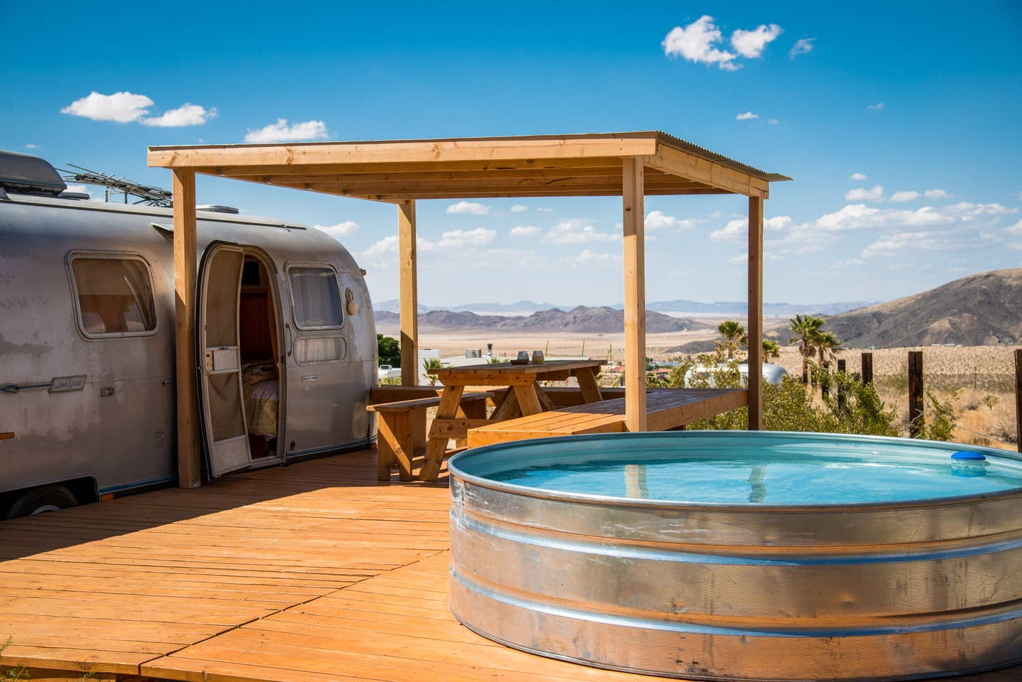 Most Unique USA Airbnbs Joshua Tree tin pool airstream