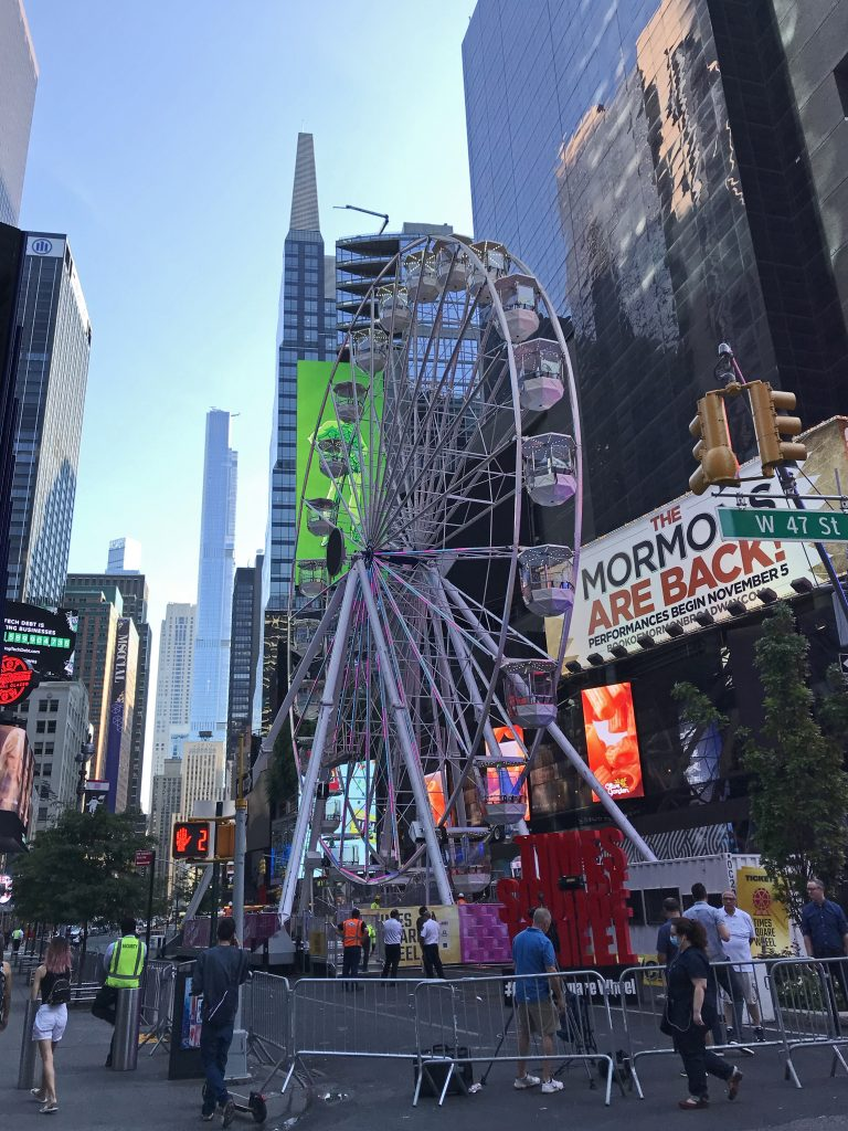 Ferris wheel in Times Square on Broadway between W 47th Street and W 48th Street