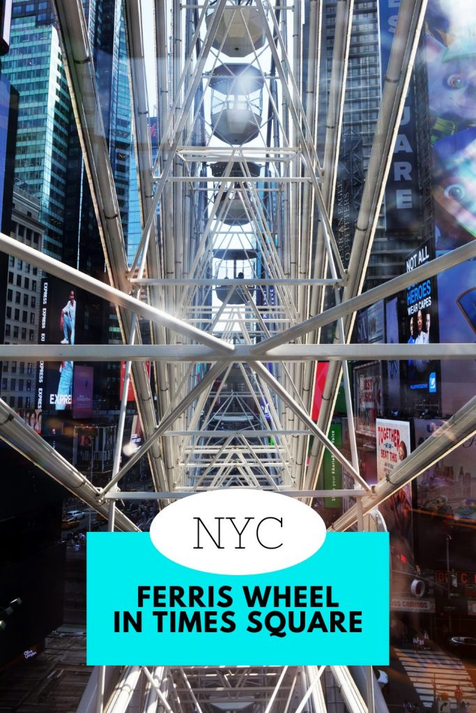 NYC Ferris Wheel in Times Square Pin looking into the spokes of the wheel
