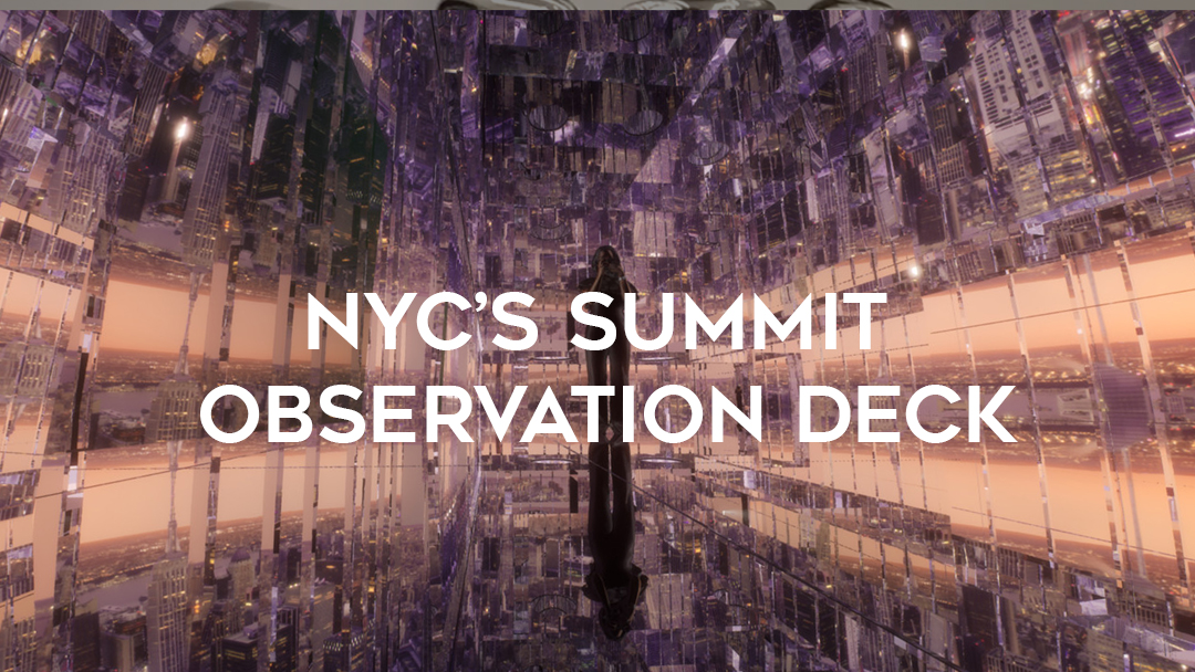 NYC summit observation deck over sunrise reflective Air photo